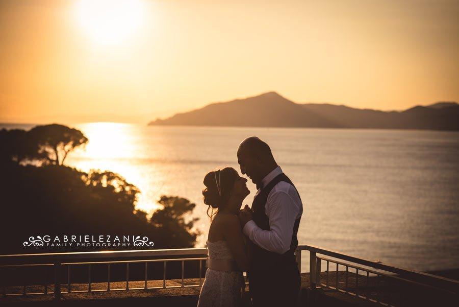 fotografo matrimonio sestri levante sposi tramonto