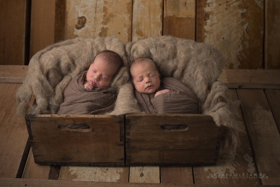 fotografo neonati gemelli gabriele zani avvolti cassetta legno